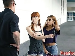 Roughfucked redhead teen gagging in BDSM