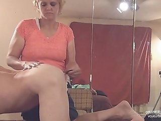filming herself giving a handjob