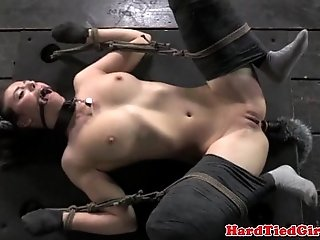 Kitten play in bondage mittens tied down