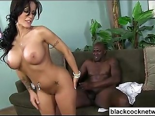 White girl bouncing wildly on Lexington Steele