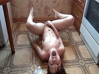 Russian slave pissing and masturbating for the master